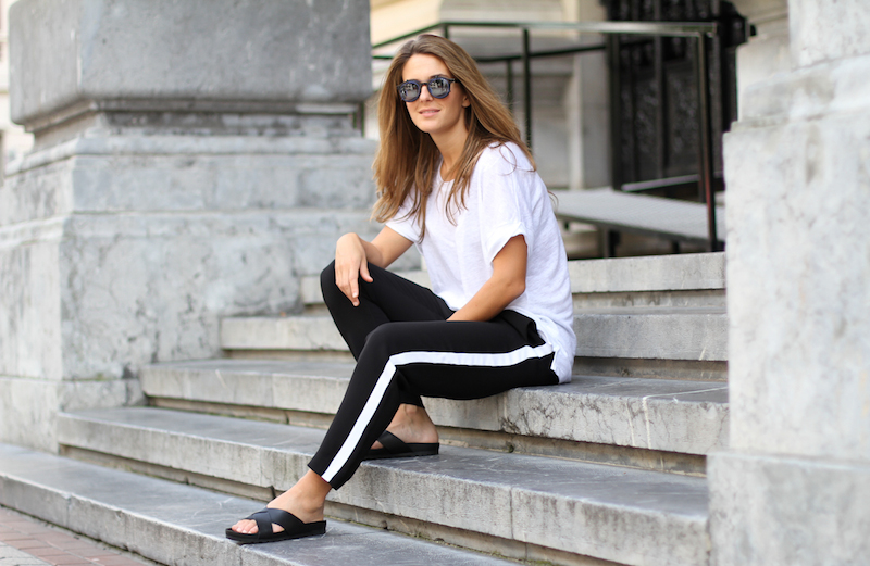 Clochet_Outfit_Streetstyle_zara_sporty_trousers_vagabond_sliders_