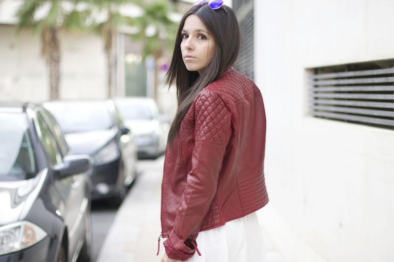 veste cuir rouge