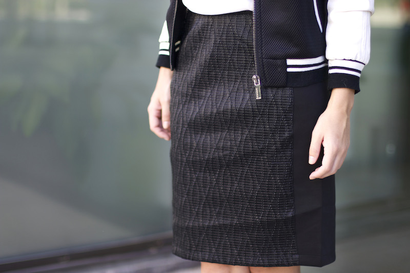 jupe cintrée bi matière