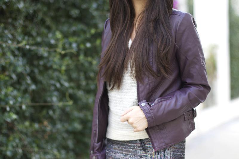 veste en cuir violet
