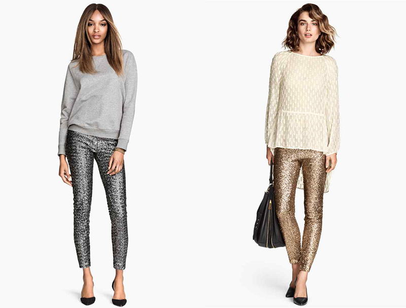 pantalon sequins H&M