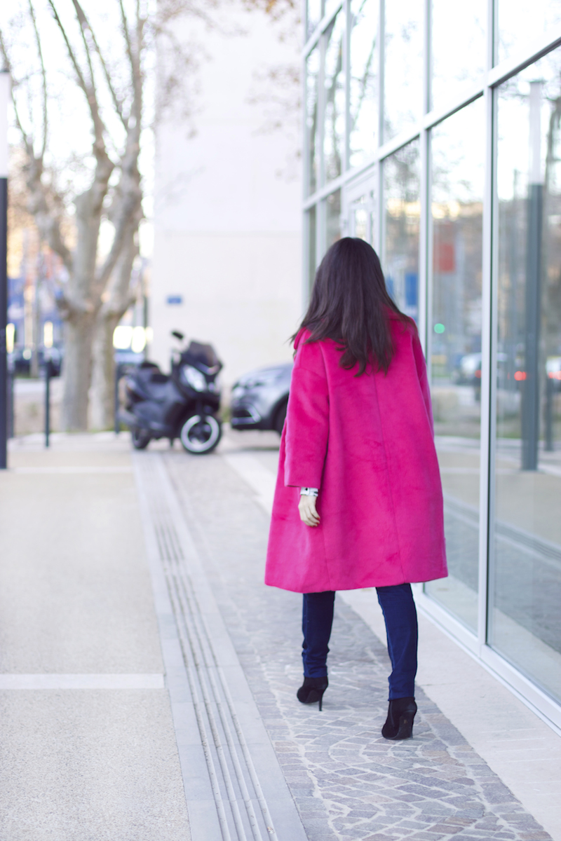manteau rose fuschia