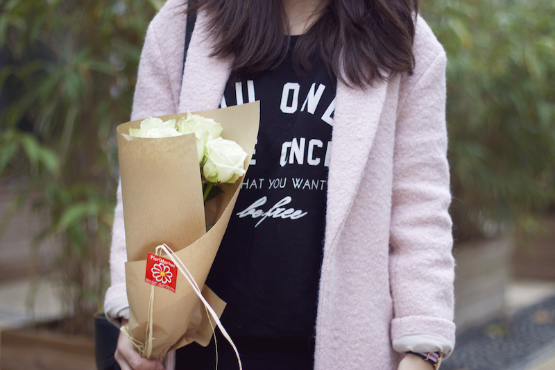 manteau rose sweat message
