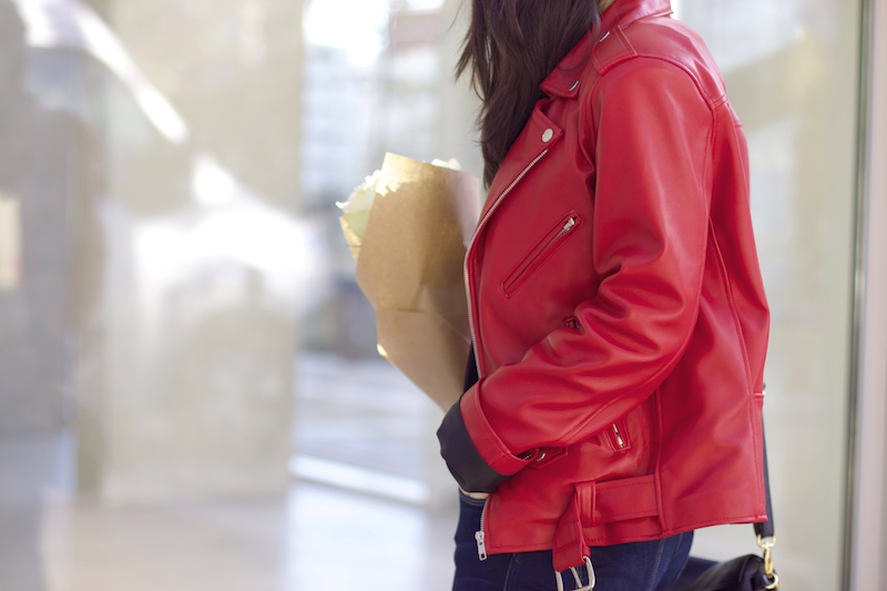 veste cuir rouge fashion cuir