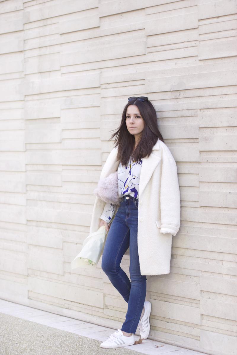 manteau blanc jean taille haute