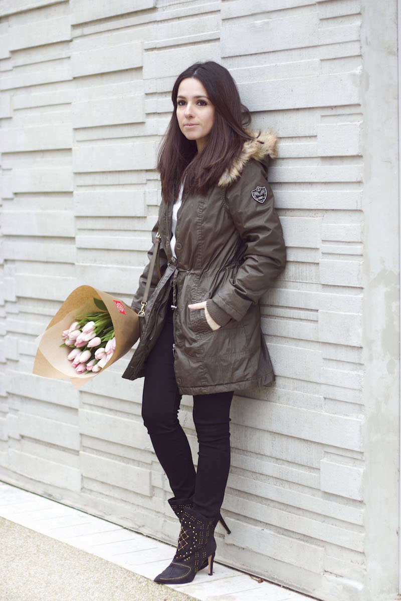 look parka bottines noires