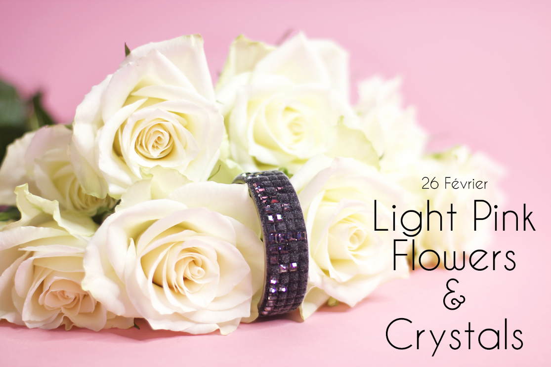 Light pink, flowers and crystals