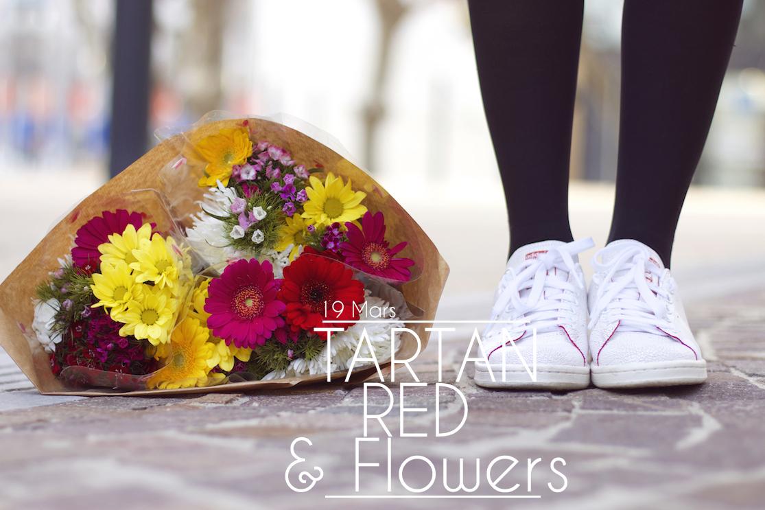 Tartan, red & flowers