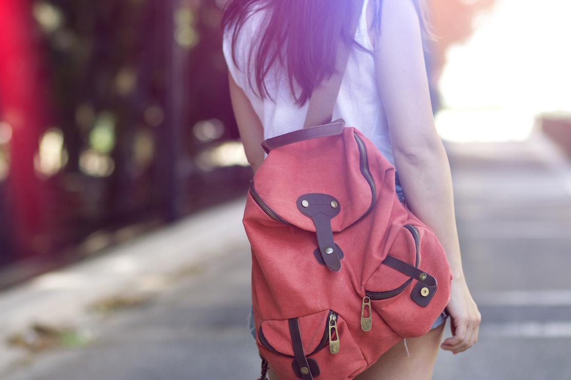 sac à dos rose orangé