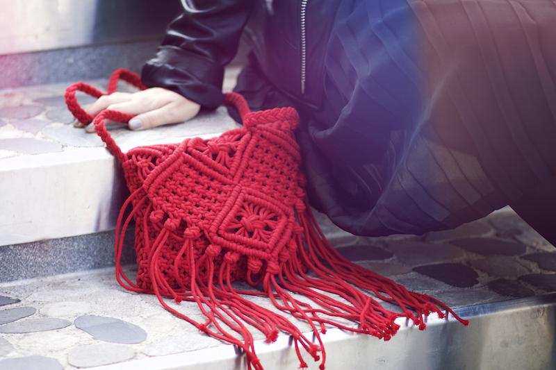 SAC tissus rouge franges