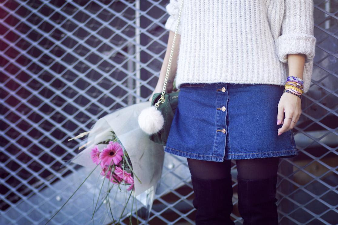 jupe jean boutonnée