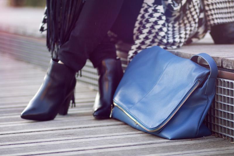 sac cuir bleu manila grace