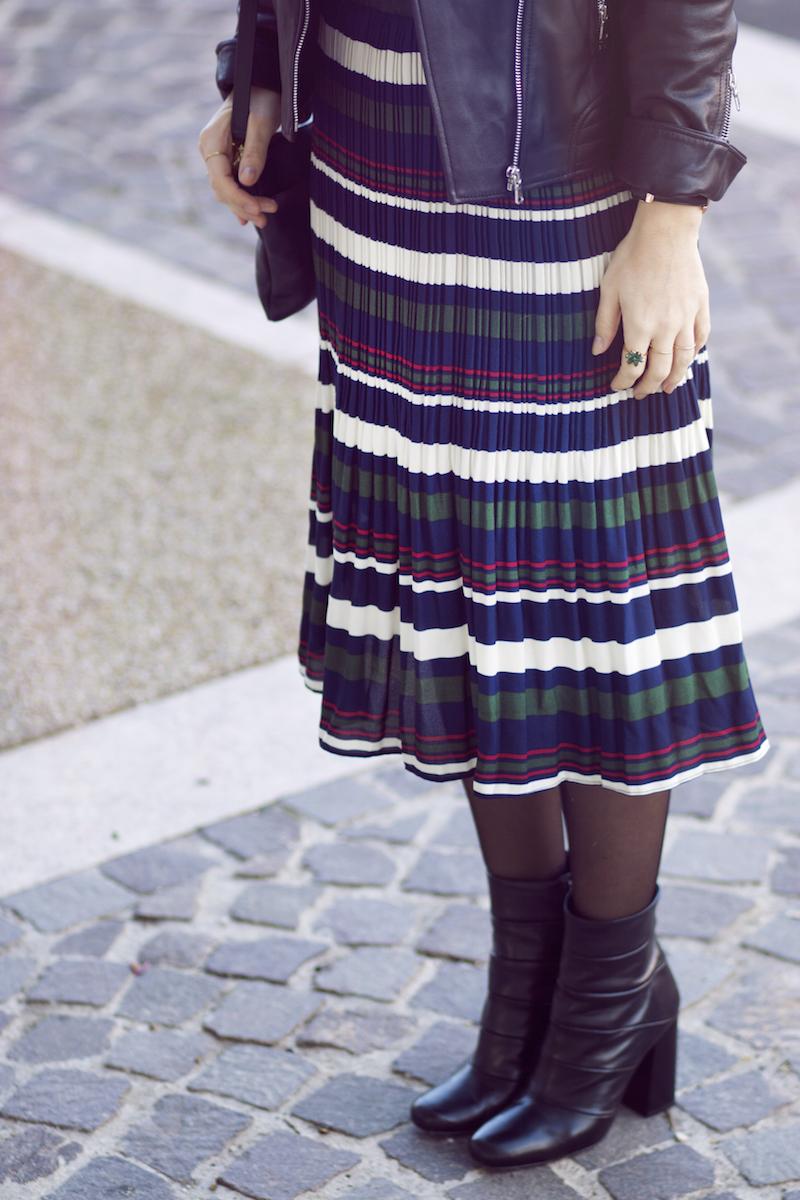 blog mode jupe plissée rayée