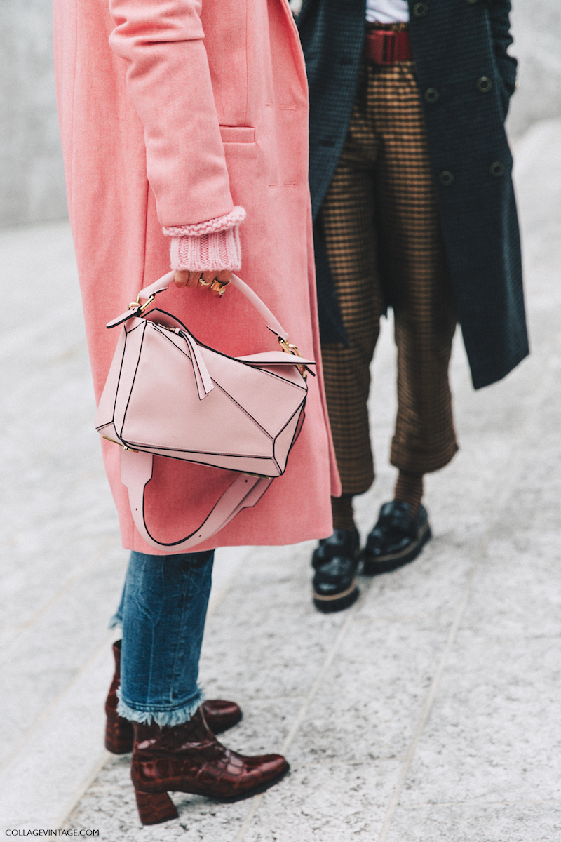 Milan_Fashion_Week_Fall_16-MFW-Street_Style-Collage_Vintage-Pink_Coat-Loewe_Puzzle_Bag-