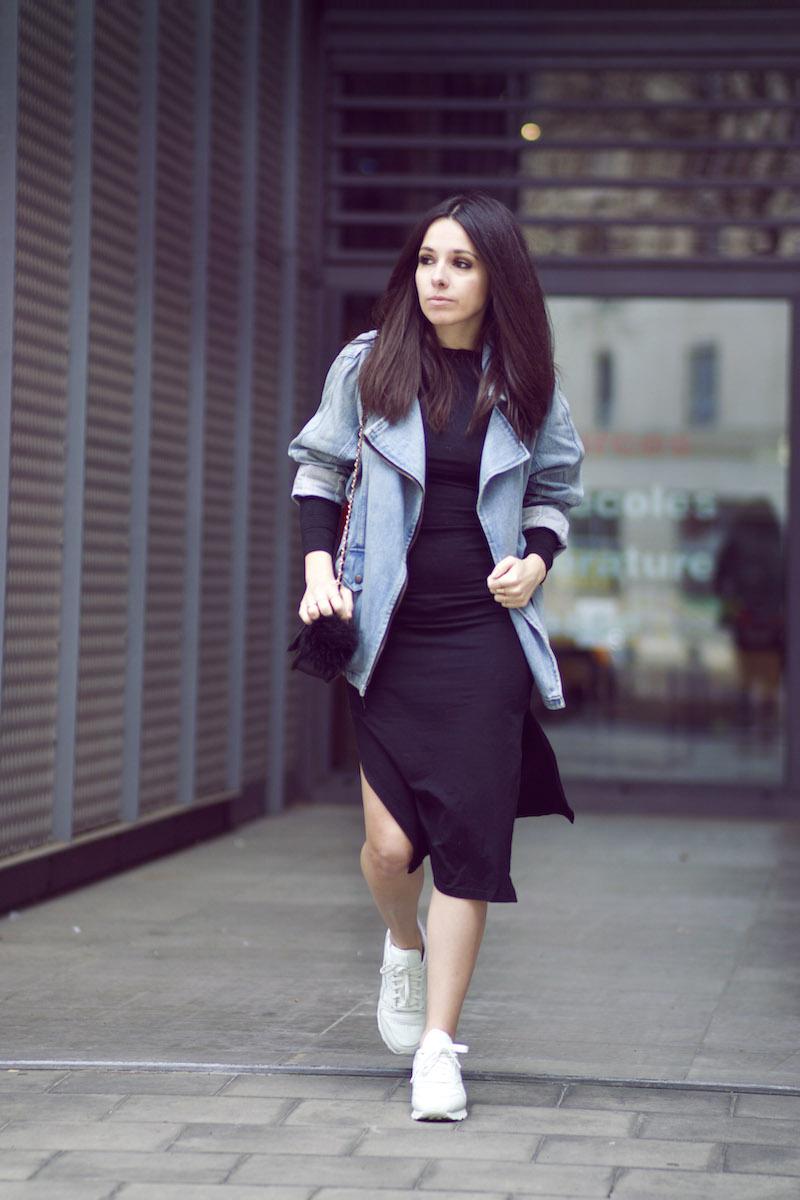 blog mode robe noire fendue côté