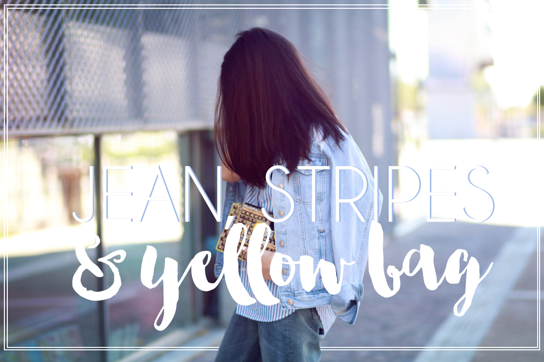 Jean, Stripes & Yellow Bag