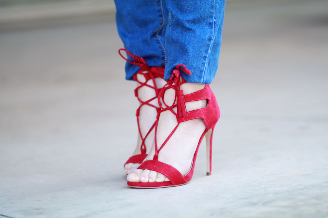 sandales rouges talons blog mode