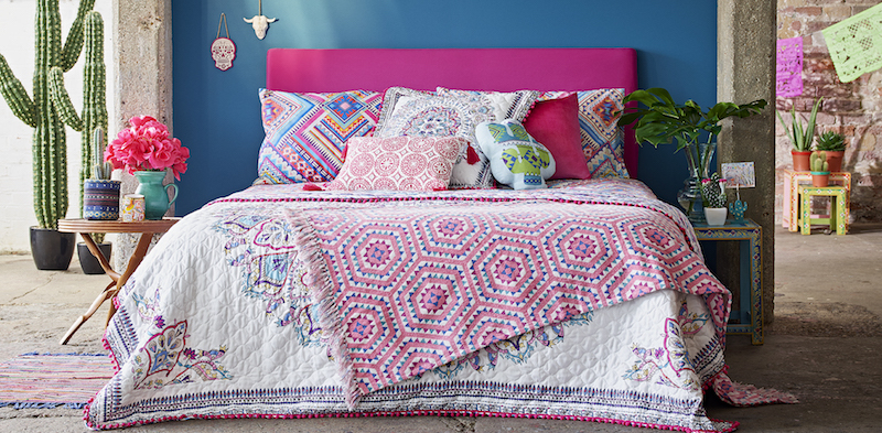 Primark Home Mexican Fiesta, Quilted Throw, 20 $23, Mexican Throw, €12 $14, Diamond Aztec Double, €16 $18, Cushions, from €6 $8