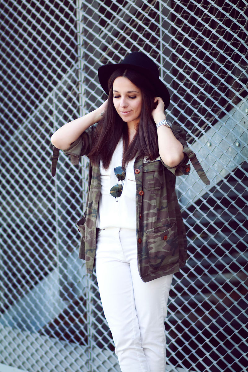 blog mode look blanc et camouflage
