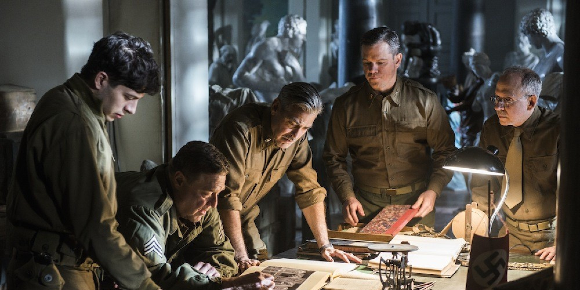 (l to r) Sam Epstein, John Goodman, George Clooney, Matt Damon and Bob Balaban in Columbia Pictures' action thriller THE MONUMENTS MEN.