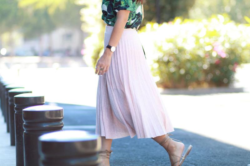 jupe plissée midi