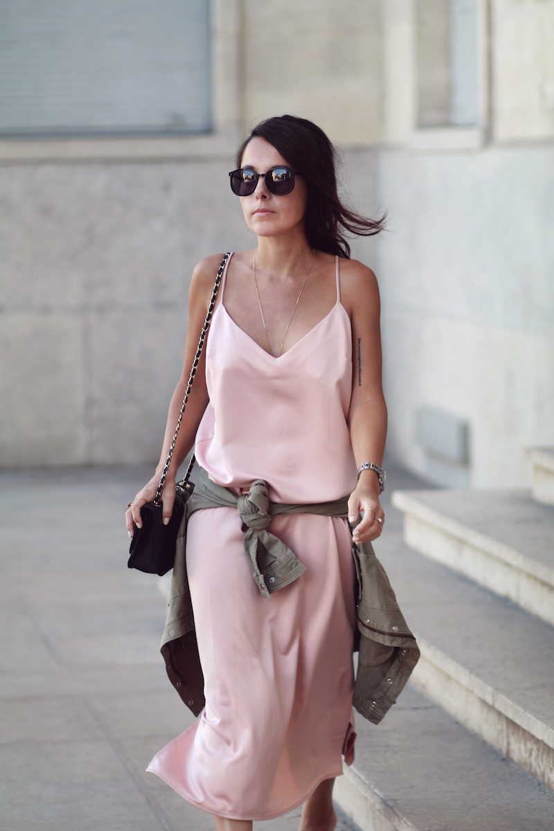 look-tendance-slip-dress-rose-satin-hm