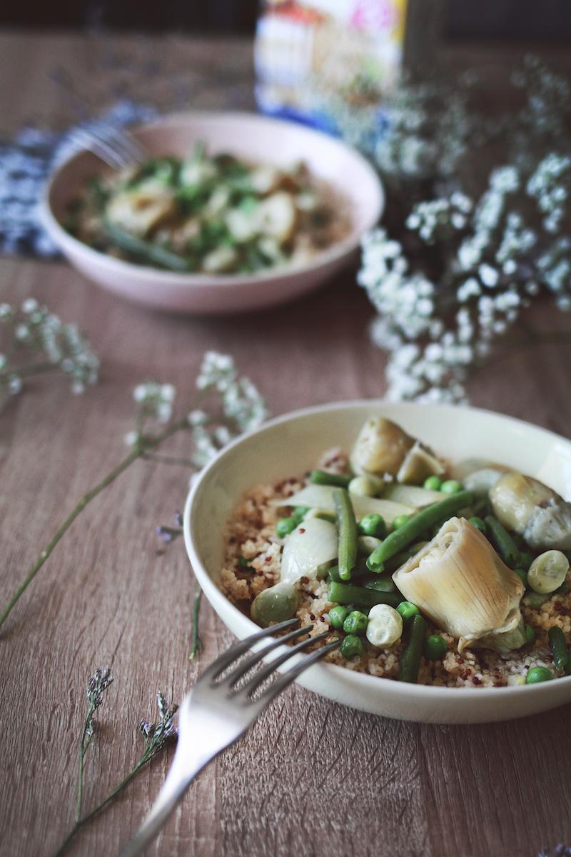 quinoa boulgour et légumes printemps