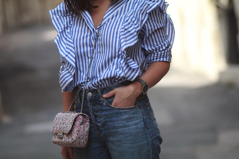 chemise-volants-rayée
