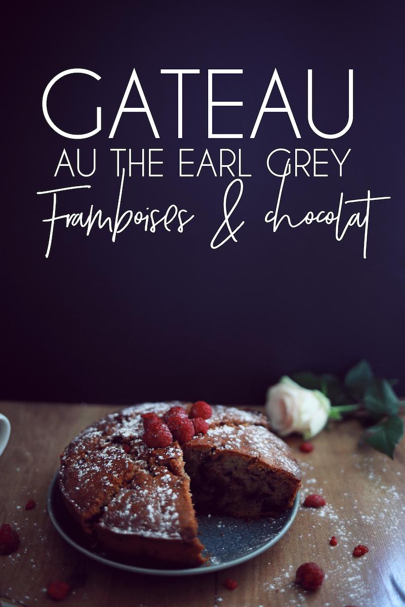 Gateau au thé Earl Grey, framboises et chocolat