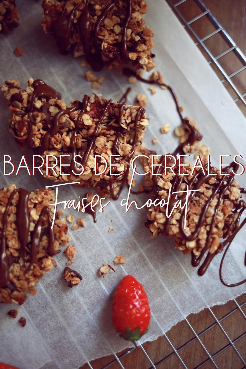 Barre de céréales aux fraises et au chocolat