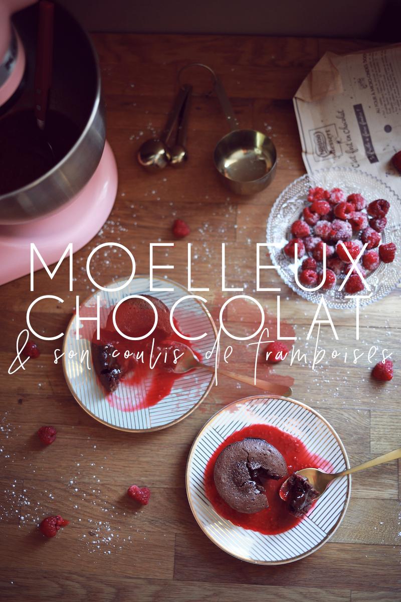 Moelleux au chocolat & coulis de framboises