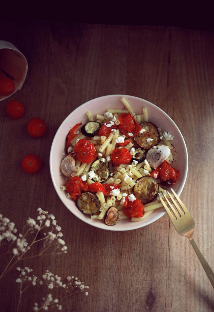 Pâtes aux légumes grillés et à la fêta